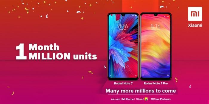 Серия Xiaomi Redmi Note 7 продано более 1 миллиона единиц в месяц